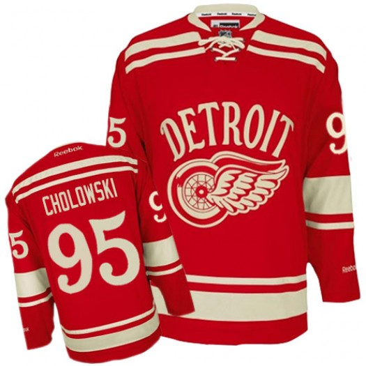 Dennis Cholowski Detroit Red Wings Men's Reebok Authentic Red 2014 Winter Classic Jersey