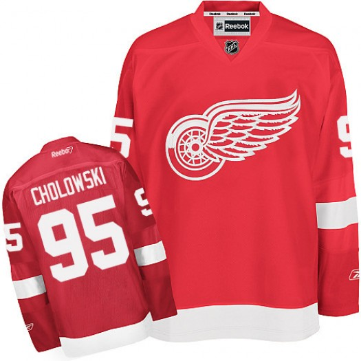 Dennis Cholowski Detroit Red Wings Men's Reebok Authentic Red Home Jersey