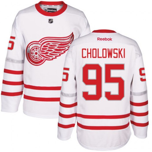 Dennis Cholowski Detroit Red Wings Men's Reebok Authentic White 2017 Centennial Classic Jersey