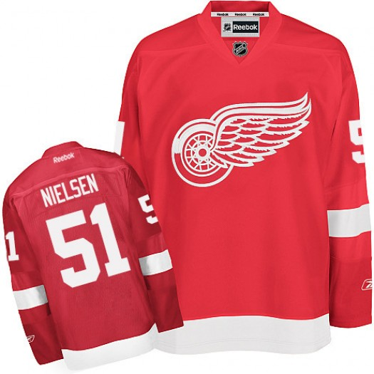 Frans Nielsen Detroit Red Wings Men's Reebok Authentic Red Home Jersey