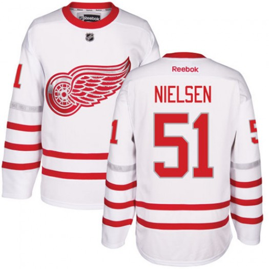 Frans Nielsen Detroit Red Wings Men's Reebok Authentic White 2017 Centennial Classic Jersey