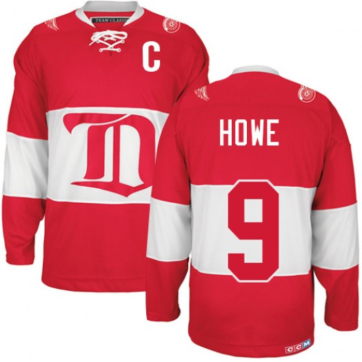 Gordie Howe Detroit Red Wings Men's CCM Authentic Red Winter Classic Throwback Jersey