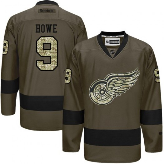 Gordie Howe Detroit Red Wings Men's Reebok Authentic Green Salute to Service Jersey