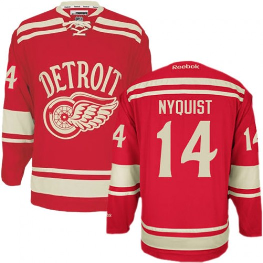 Gustav Nyquist Detroit Red Wings Men's Reebok Authentic Red 2014 Winter Classic Jersey