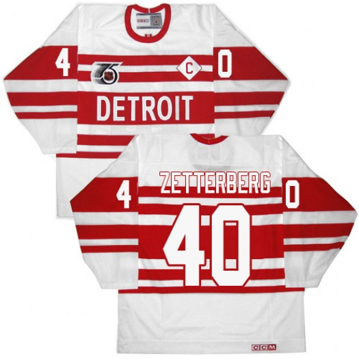 Henrik Zetterberg Detroit Red Wings Men's CCM Authentic White 75TH Throwback Jersey