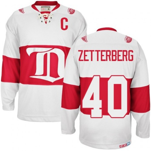 Henrik Zetterberg Detroit Red Wings Men's CCM Authentic White Winter Classic Throwback Jersey