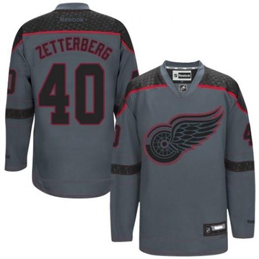Henrik Zetterberg Detroit Red Wings Men's Reebok Authentic Charcoal Cross Check Fashion Jersey