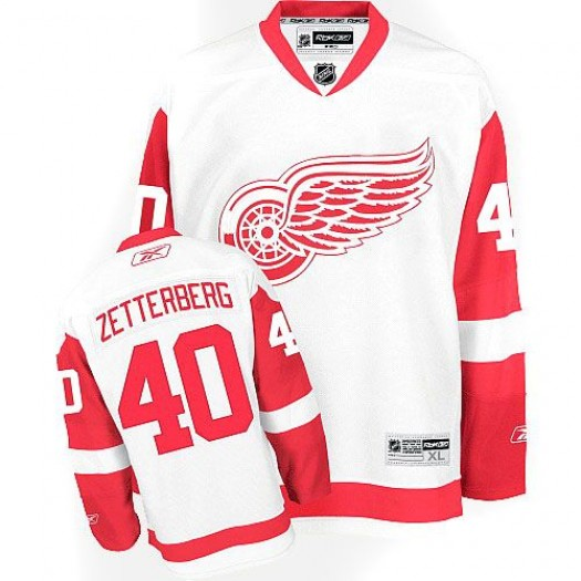 Henrik Zetterberg Detroit Red Wings Men's Reebok Authentic White Away Jersey
