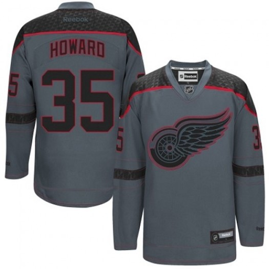 Jimmy Howard Detroit Red Wings Men's Reebok Authentic Charcoal Cross Check Fashion Jersey