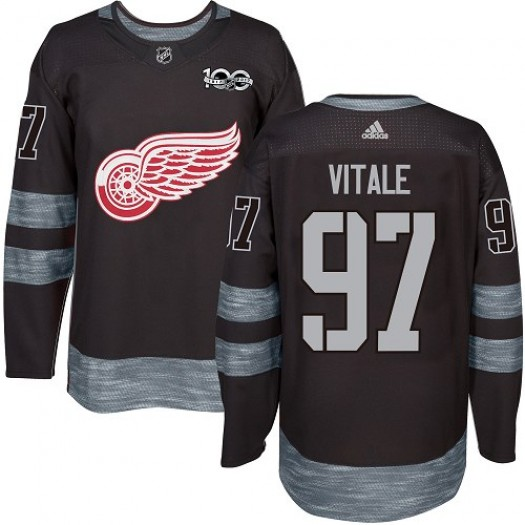 Joe Vitale Detroit Red Wings Men's Adidas Authentic Black 1917-2017 100th Anniversary Jersey
