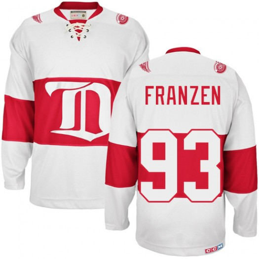 Johan Franzen Detroit Red Wings Men's CCM Authentic White Winter Classic Throwback Jersey
