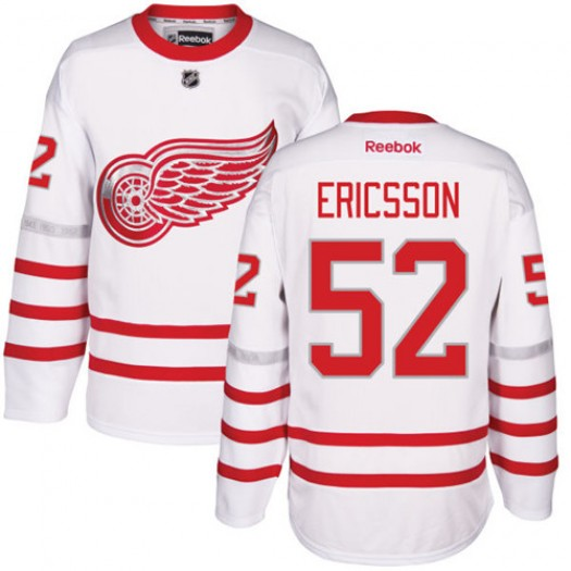 Jonathan Ericsson Detroit Red Wings Men's Reebok Authentic White 2017 Centennial Classic Jersey
