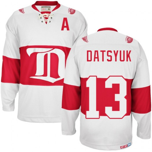 Pavel Datsyuk Detroit Red Wings Men's CCM Authentic White Winter Classic Throwback Jersey