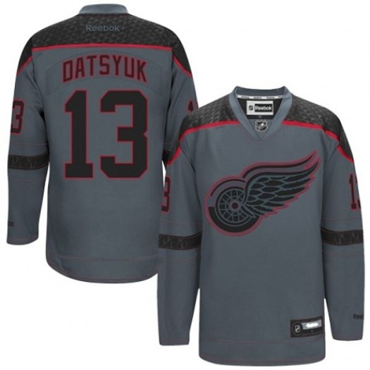 Pavel Datsyuk Detroit Red Wings Men's Reebok Authentic Charcoal Cross Check Fashion Jersey
