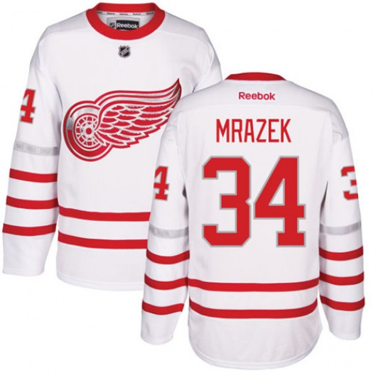 Petr Mrazek Detroit Red Wings Men's Reebok Authentic White 2017 Centennial Classic Jersey