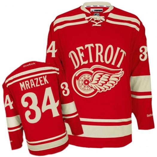 Petr Mrazek Detroit Red Wings Men's Reebok Premier Red 2014 Winter Classic Jersey