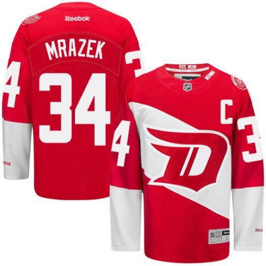 Petr Mrazek Detroit Red Wings Men's Reebok Premier Red 2016 Stadium Series Jersey