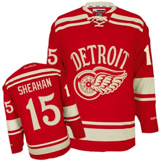 Riley Sheahan Detroit Red Wings Men's Reebok Premier Red 2014 Winter Classic Jersey
