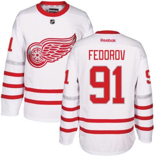 Sergei Fedorov Detroit Red Wings Men's Reebok Premier White 2017 Centennial Classic Jersey