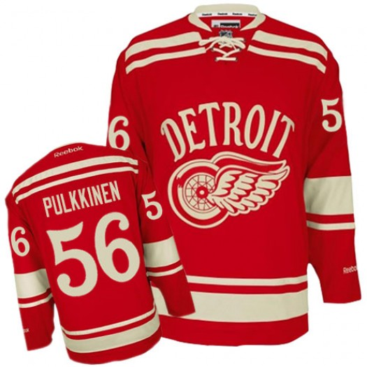 Teemu Pulkkinen Detroit Red Wings Men's Reebok Authentic Red 2014 Winter Classic Jersey
