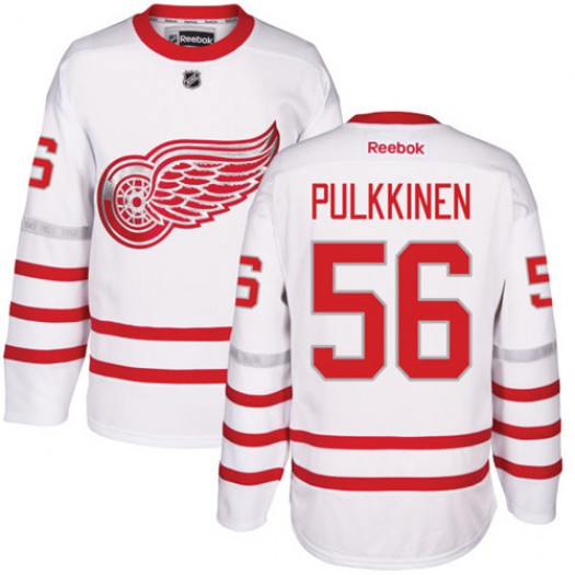 Teemu Pulkkinen Detroit Red Wings Men's Reebok Authentic White 2017 Centennial Classic Jersey