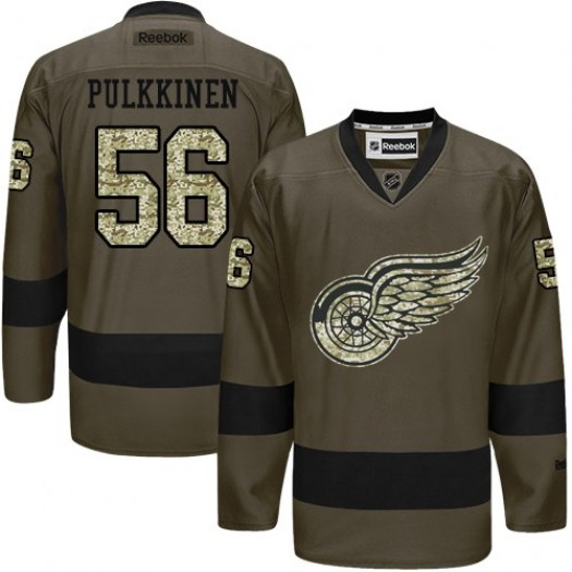 Teemu Pulkkinen Detroit Red Wings Men's Reebok Premier Green Salute to Service Jersey