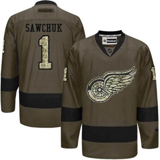Terry Sawchuk Detroit Red Wings Men's Reebok Authentic Green Salute to Service Jersey
