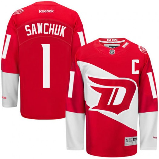 Terry Sawchuk Detroit Red Wings Men's Reebok Authentic Red 2016 Stadium Series Jersey