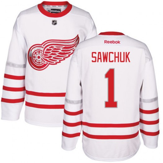 Terry Sawchuk Detroit Red Wings Men's Reebok Authentic White 2017 Centennial Classic Jersey