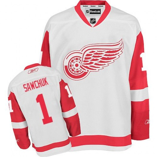 Terry Sawchuk Detroit Red Wings Men's Reebok Authentic White Away Jersey