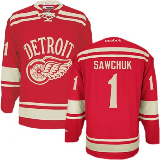 Terry Sawchuk Detroit Red Wings Men's Reebok Premier Red 2014 Winter Classic Jersey