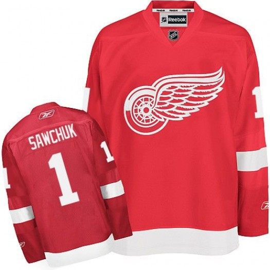Terry Sawchuk Detroit Red Wings Men's Reebok Premier Red Home Jersey
