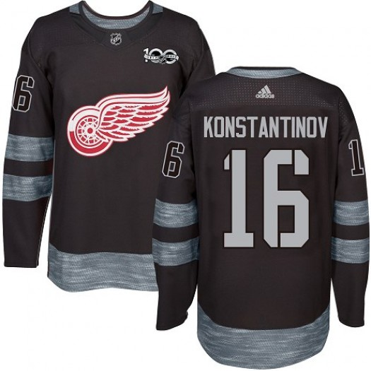 Vladimir Konstantinov Detroit Red Wings Men's Adidas Premier Black 1917-2017 100th Anniversary Jersey