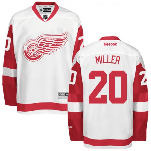 Drew Miller Detroit Red Wings Men's Reebok Replica White Away Jersey