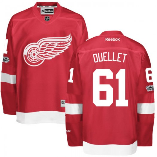 Xavier Ouellet Detroit Red Wings Men's Reebok Replica Red Home Centennial Patch Jersey