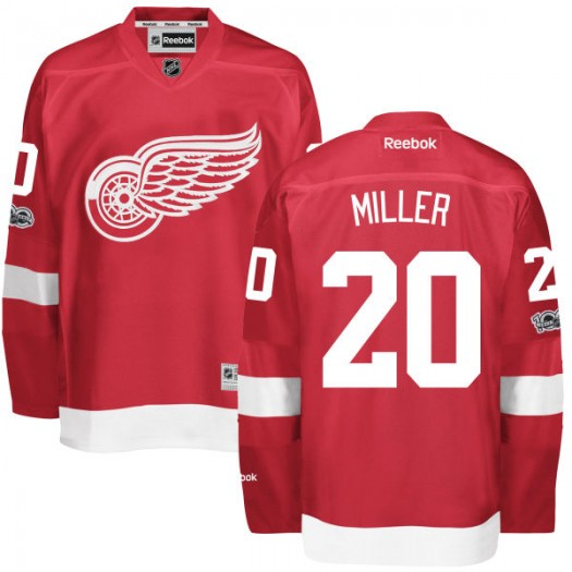 Drew Miller Detroit Red Wings Men's Reebok Authentic Red Home Centennial Patch Jersey