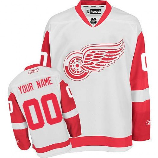Men's Reebok Detroit Red Wings Customized Authentic White Away Jersey