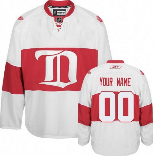 Men's Reebok Detroit Red Wings Customized Authentic White Third Jersey