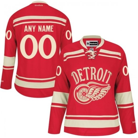 Women's Reebok Detroit Red Wings Customized Authentic Red 2014 Winter Classic Jersey