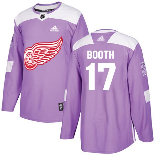 David Booth Detroit Red Wings Youth Adidas Authentic Purple Fights Cancer Practice Jersey