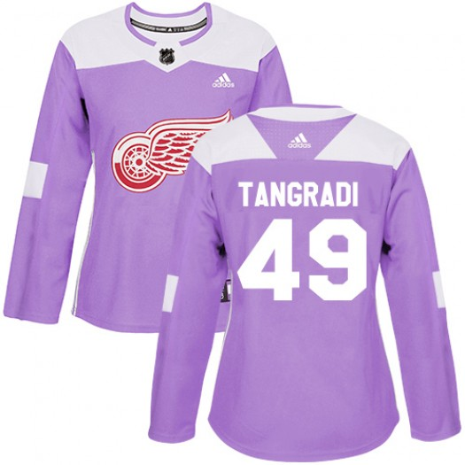 Eric Tangradi Detroit Red Wings Women's Adidas Authentic Purple Fights Cancer Practice Jersey