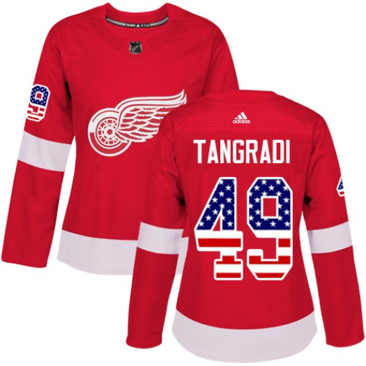 Eric Tangradi Detroit Red Wings Women's Adidas Authentic Red USA Flag Fashion Jersey