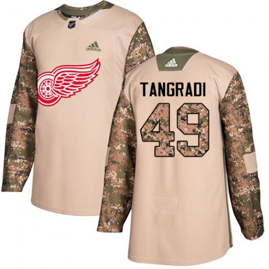 Eric Tangradi Detroit Red Wings Youth Adidas Authentic Camo Veterans Day Practice Jersey