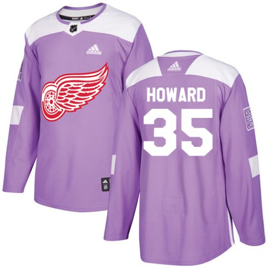 Jimmy Howard Detroit Red Wings Youth Adidas Authentic Purple Fights Cancer Practice Jersey