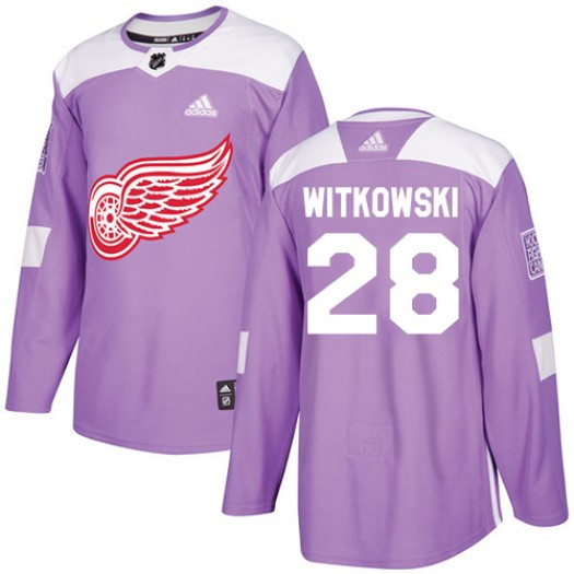 Luke Witkowski Detroit Red Wings Men's Adidas Authentic Purple Fights Cancer Practice Jersey