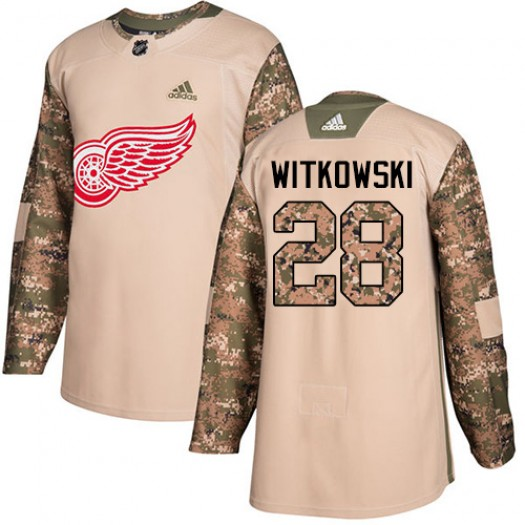 Luke Witkowski Detroit Red Wings Men's Adidas Authentic Camo Veterans Day Practice Jersey