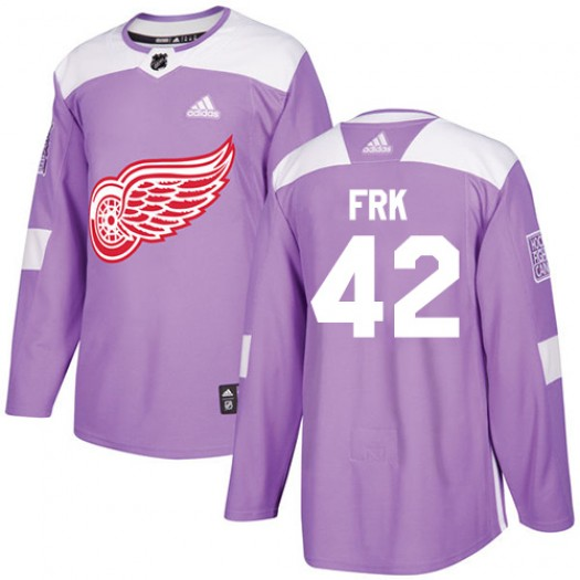 Martin Frk Detroit Red Wings Youth Adidas Authentic Purple Fights Cancer Practice Jersey