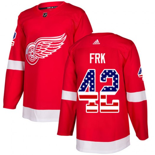 Martin Frk Detroit Red Wings Men's Adidas Authentic Red USA Flag Fashion Jersey