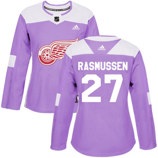 Michael Rasmussen Detroit Red Wings Women's Adidas Authentic Purple Fights Cancer Practice Jersey
