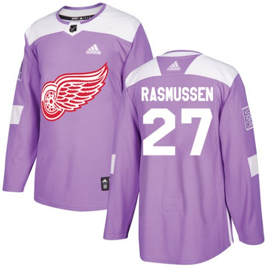 Michael Rasmussen Detroit Red Wings Youth Adidas Authentic Purple Fights Cancer Practice Jersey
